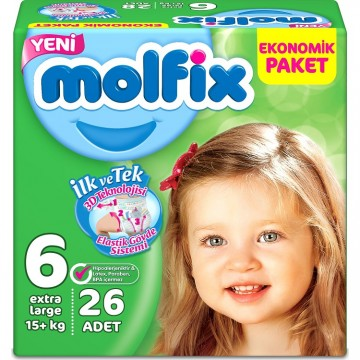 Molfix Jumbo Extra Large 26'lı (15 + Kg) No 6 Çocuk Bezi