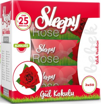 Sleepy Sensitive Islak Havlu 3x50 li Kapaklı Gül