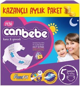 Canbebe Bebek Bezi Aylık Paket Junior 5 (11-18 Kg) 44 Ped