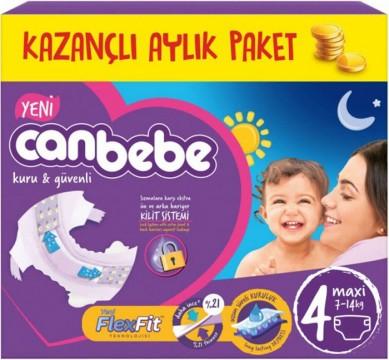 Canbebe Aylık Paket Bebek Bezi 7-14 Kg No:4 Maxi 60 Adet