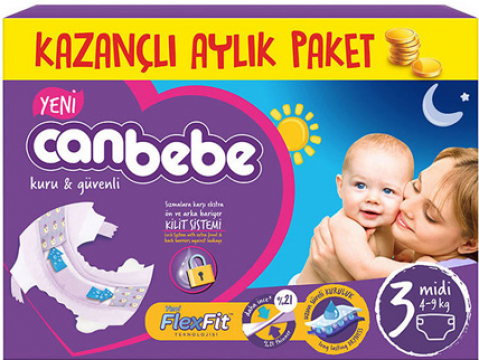 Canbebe Aylık Paket Bebek Bezi 4-9 Kg No:3 Midi 78'li