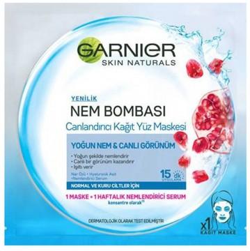Garnier Nem Bombası Canlandırıcı Kağıt Yüz Maskesi Nar Özlü