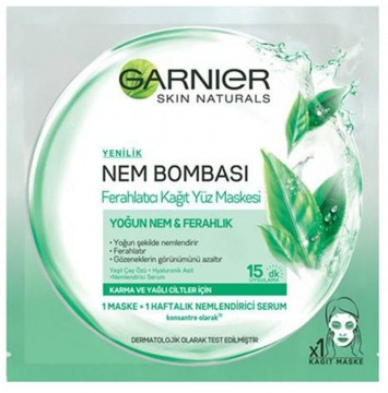 Garnier Nem Bombası Ferahlatıcı Kağıt Yüz Maskesi Yeşil Çay Özlü