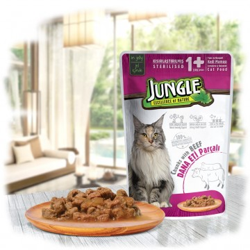 Jungle Pouch Dana Eti Parçalı Kısırlaştırılmış Kedi Konservesi 100 Gr