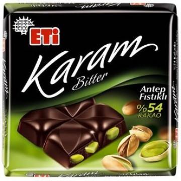Eti Çikolata 75 Gr Antep Fıstıklı-Bitter Kare Karam